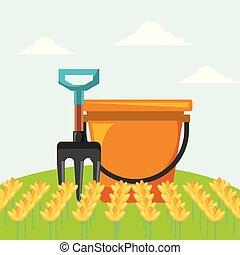 fourchette, jardinage, jardin, image, seau, fleurs