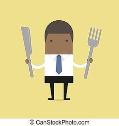 fourchette, knife., homme affaires, africaine