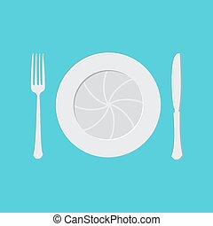 fourchette, lentille, appareil photo, couteau