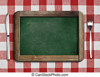 fourchette, menu, couteau, tableau noir, table, mensonge