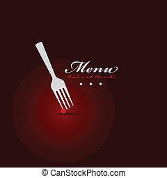 fourchette, menu, couverture, restaurant