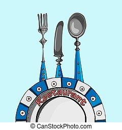 fourchette, menu restaurant, cuillère, fond, vecteur, vide, conception, carte