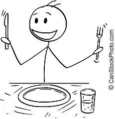 fourchette, nourriture, affamé, attente, dessin animé, couteau, homme