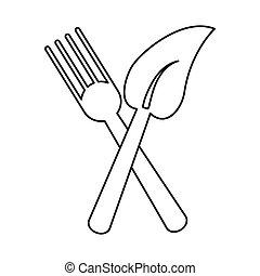 fourchette, nourriture, symbole, congé, sain, ligne mince