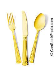 fourchette, or, isolé, cuillère, blanc, couteau