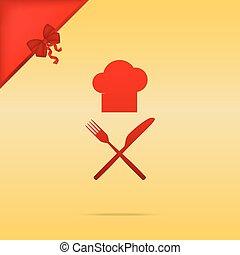 fourchette, or, signe., cristmas, chef cuistot, arrière-plan., conception, couteau, rouges, icône