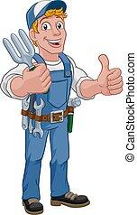 fourchette, outil jardin, bricoleur, dessin animé, jardinier, homme