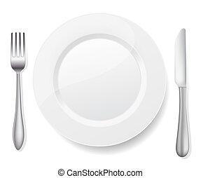 fourchette, plaque, blanc, couteau