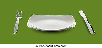 fourchette, plaque, carrée, nourriture, vert, vide, plat, table, ou, couteau