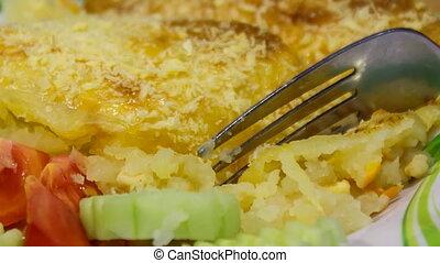 fourchette, plaque, closeup, shepherd's, tarte