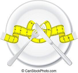 fourchette, plaque, couteau, mètre à ruban