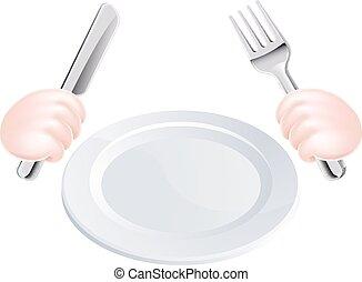 fourchette, plaque, couteau, mains