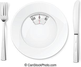 fourchette, plaque, couteau