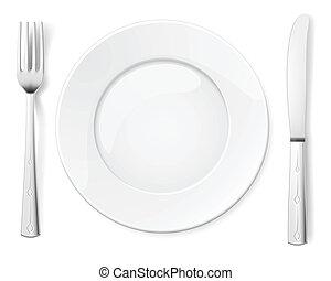 fourchette, plaque, couteau, vide