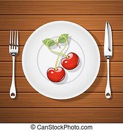 fourchette, plaque, forme coeur, cerises, couteau