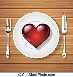 fourchette, plaque, forme coeur, couteau, rouges