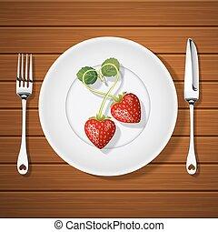 fourchette, plaque, forme coeur, fraises, couteau