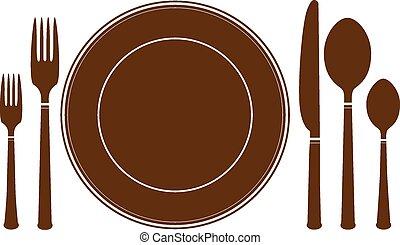 fourchette, plaque, icône couteau