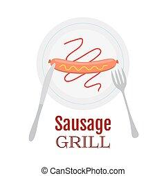 fourchette, plaque, saucisse, ketchup, moutarde, grillé, couteau