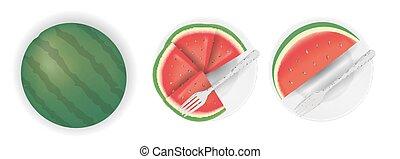 fourchette, plat, coupure, pastèque, couper
