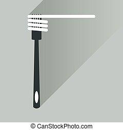 fourchette, plat, long, ombre, spaghetti, icône