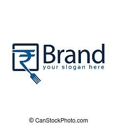 fourchette, plat, restaurant, roupie, l, vecteur, keywords, logo, logo., design.