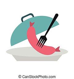 fourchette, plat, saucisse, dôme