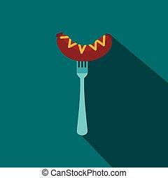 fourchette, plat, saucisse, moutarde, style, icône