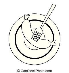 fourchette, plat, saucisse, noir, blanc