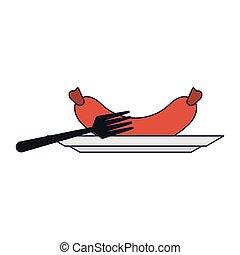 fourchette, plat, saucisse