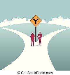fourchette, road., business, concept., mains, hommes affaires, coopération, secousse