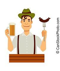 fourchette, saucisse, allemand, bière, chapeau vert