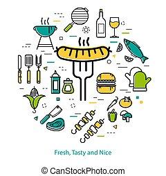 fourchette, saucisse, concept, -, grillé, rond