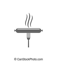 fourchette, saucisse, icône