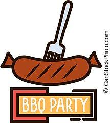 fourchette, saucisse, symbole, mince, grillé, barbecue, ligne