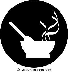 fourchette, signe, chef cuistot, vecteur, chapeau, couteau