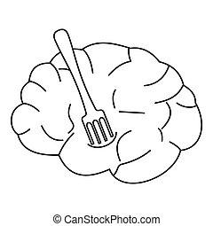 fourchette, style, contour, cerveau, humain, icône