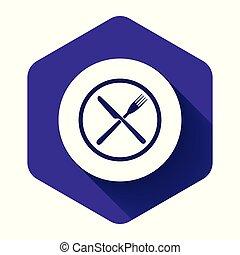 fourchette, symbole., icône, illustration, button., couteau, pourpre, vecteur, shadow., long, plaque, traversé, hexagone, isolé, restaurant, blanc