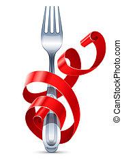 fourchette, table, ruban, tressé, rouges