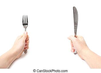 fourchette, tenue, couteau, mains