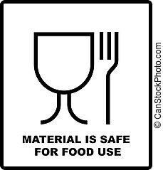 fourchette, usage, sûr, disposition, verre, simple, signe., matériel, illustration, paquet, parcels., vecteur, noir, nourriture, boîtes carton, icon., paquets, symbole, design.