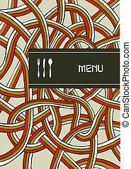 fourchette, vendange, couverture, cuillère, conception, menu, couteau