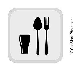 fourchette, verre, signe, cuillère