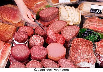 fourchette, viande, femme, haut, supermarché, main, cueillette