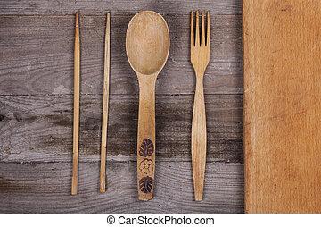 fourchette, vieux, bois, ustensiles, cuillère, tire-bouchon, table, cuisine