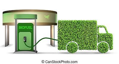 fourgon, biofuel, actionné, -, livraison, rendre, 3d