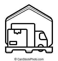 fourgon, boîtes carton, chargé, livraison