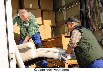 fourgon, charge, déménageur mobilier, boîtes, deux