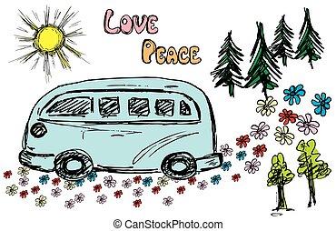 fourgon, hippie, route, voyager, fleur