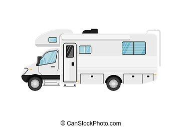 fourgon, moderne, campeur, isolé, illustration, vecteur